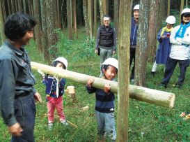 天然乾燥させると木の重量は1/3に軽量化
