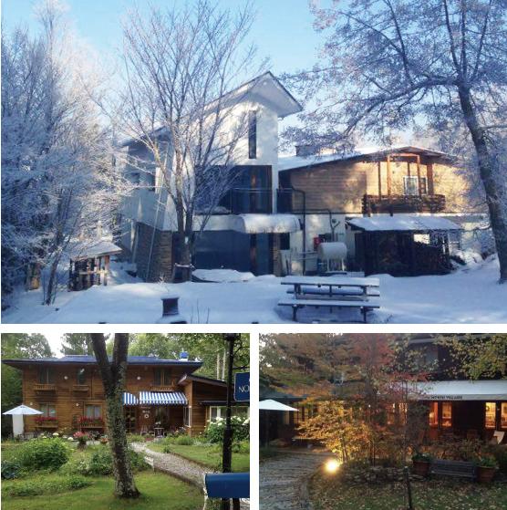 【ペンションビレッジ(長野県原村)】Ring Link Hallは個性豊かなペンション村の中にあり、雪景色も見事です。